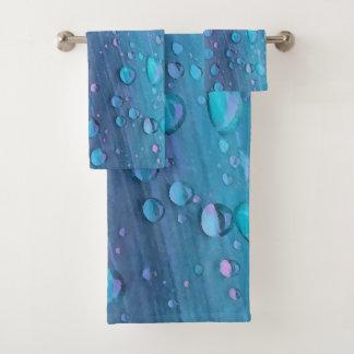 Conjunto De Toalhas Close up dos pingos de chuva, azuis de Spacey