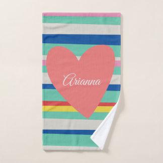 Conjunto De Toalhas Coração feminino do arco-íris bonito
