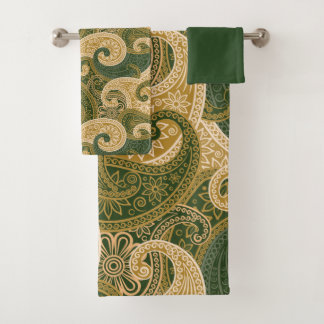 Conjunto De Toalhas Creme gigante & Paisleys verde