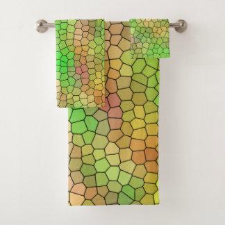Conjunto De Toalhas Design colorido abstrato do mosaico do