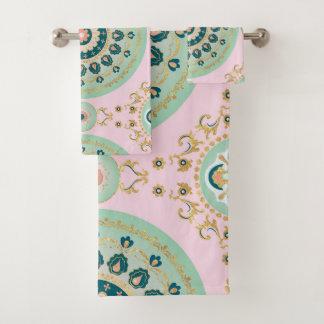 Conjunto De Toalhas Design do ornamento da mandala do ouro do vintage