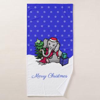 Conjunto De Toalhas Elefante bonito do papai noel do Natal na neve