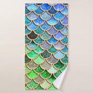 Conjunto De Toalhas Escalas brilhantes azuis verdes da sereia do