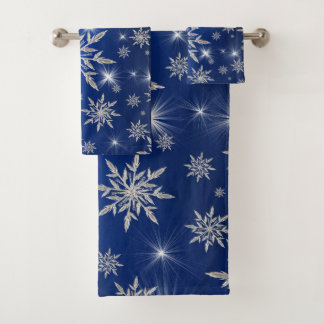 Conjunto De Toalhas Estrelas azuis do Natal com o cristal de gelo