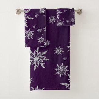 Conjunto De Toalhas Estrelas roxas do Natal com o cristal de gelo