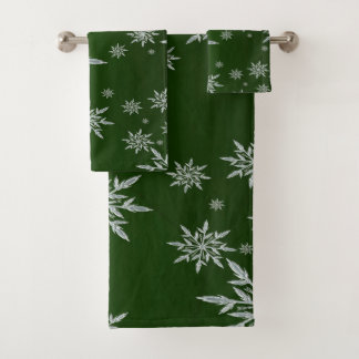 Conjunto De Toalhas Estrelas verdes do Natal com o cristal de gelo