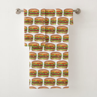 Conjunto De Toalhas Fast food do cheeseburger do hamburguer do