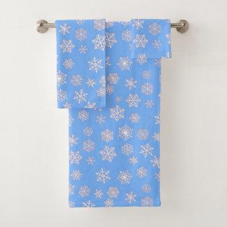 Conjunto De Toalhas Flocos de neve do branco 3 d em um fundo do azul