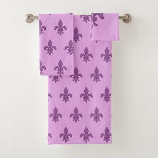 Conjunto De Toalhas Flor de lis no roxo violeta na lavanda