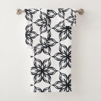Conjunto De Toalhas Flores preto e branco elegantes