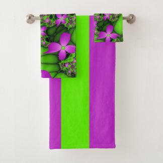 Conjunto De Toalhas Flores verdes cor-de-rosa de néon abstratas