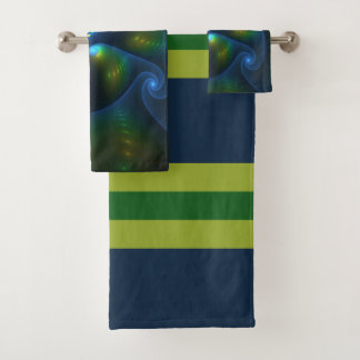 Conjunto De Toalhas Fractal do amarelo do verde azul do abstrato das