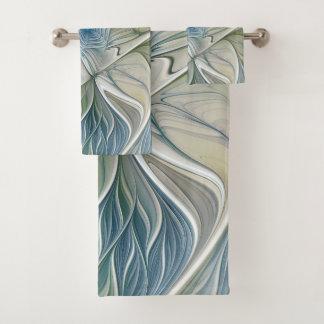 Conjunto De Toalhas Fractal Khaki azul do abstrato ideal floral do
