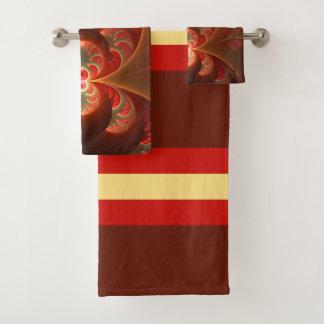 Conjunto De Toalhas Fractal moderno abstrato luminoso do vermelho
