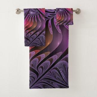 Conjunto De Toalhas Fractal roxo moderno do abstrato colorido da
