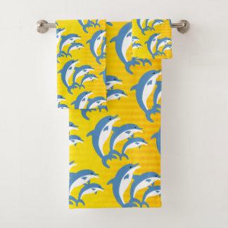 Conjunto De Toalhas Golfinhos azuis que dançam no Sun tropical