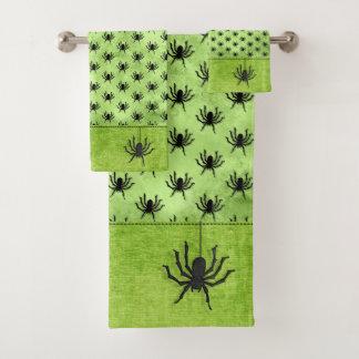 Conjunto De Toalhas Grunge enorme do verde do teste padrão da aranha