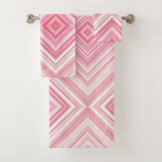 Conjunto De Toalhas Grupo cor-de-rosa gráfico do banho da aguarela
