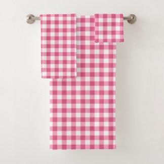 Conjunto De Toalhas Guingão cor-de-rosa e branco feminino