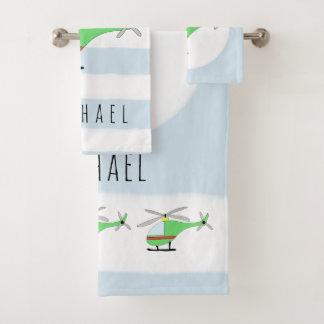 Conjunto De Toalhas Helicóptero colorido & nome do bebé bonito