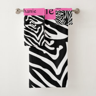 Conjunto De Toalhas Impressão personalizado da zebra do rosa preto,