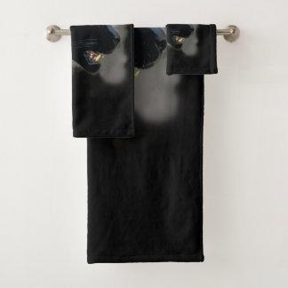 Conjunto De Toalhas Jaguar preto selvagem