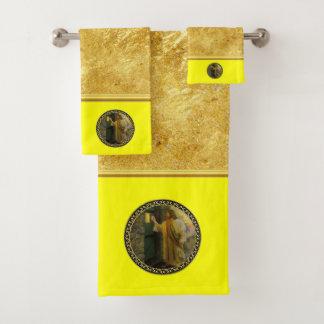 Conjunto De Toalhas Jesus em sua folha de ouro da porta com textura
