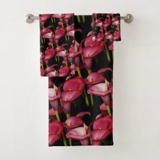 Conjunto De Toalhas Lírios de Calla roxos elegantes
