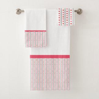 Conjunto De Toalhas Listras cinzentas com corações cor-de-rosa &