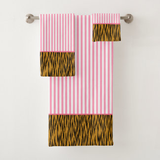 Conjunto De Toalhas Listras & Tigerprint do rosa quente do