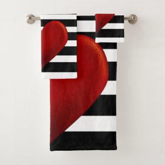 Conjunto De Toalhas Listras vermelhas do branco do preto do coração