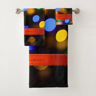Conjunto De Toalhas Luzes de Natal coloridos. Adicione o texto ou