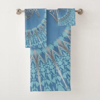 Conjunto De Toalhas Mandala de prata do azul da tartaruga de mar