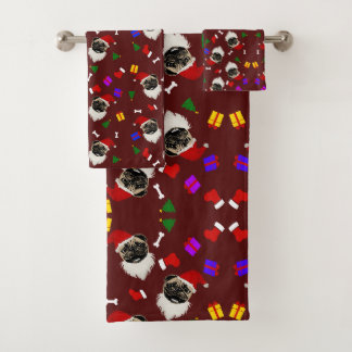 Conjunto De Toalhas Meias e presentes do chapéu do papai noel do Pug