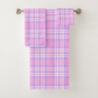 Conjunto De Toalhas Menina de verificação roxa cor-de-rosa do guingão