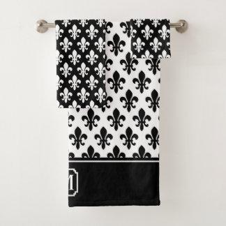 Conjunto De Toalhas Monograma branco preto do teste padrão da flor de