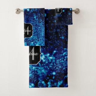 Conjunto De Toalhas Monograma congelado das bolhas do azul sparkles