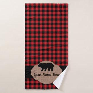 Conjunto De Toalhas Monograma vermelho e preto da xadrez do búfalo da