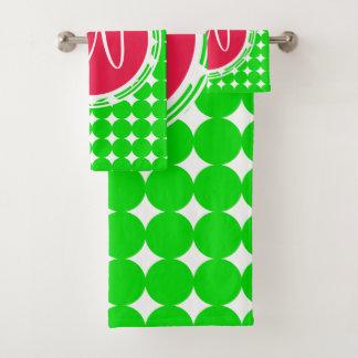 Conjunto De Toalhas Monograma vermelho & verde das bolinhas