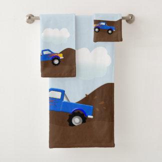 Conjunto De Toalhas Monster truck azuis com chamas