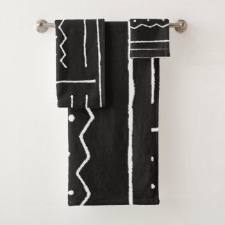 Conjunto De Toalhas Motivo africano preto e branco de pano da lama