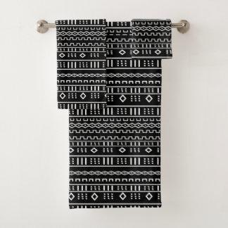Conjunto De Toalhas Mudcloth moderno preto e branco