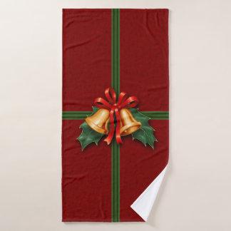 Conjunto De Toalhas Natal Bels e folhas do azevinho vermelhas