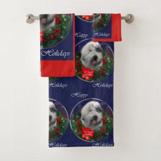 Conjunto De Toalhas Natal inglês velho do Sheepdog