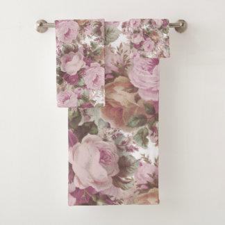 Conjunto De Toalhas O vintage cora pintura floral dos rosas