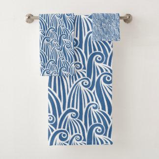 Conjunto De Toalhas Ondas de oceano azuis