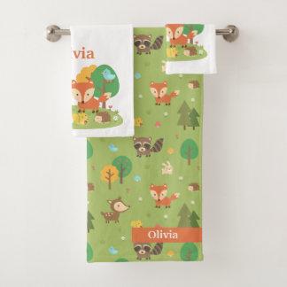 Conjunto De Toalhas Os miúdos dos animais da floresta personalizaram o