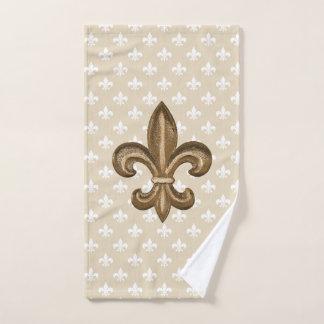 Conjunto De Toalhas Ouro & flor de lis francesa branca