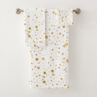 Conjunto De Toalhas Ouro Stars2 - Branco puro