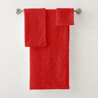Conjunto De Toalhas Paisley vermelho